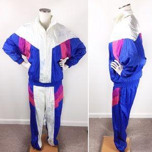 Vintage Nylon Track Suit Jacket and Pants Set Med